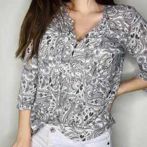 Lila Rose Cream and Grey Blouse